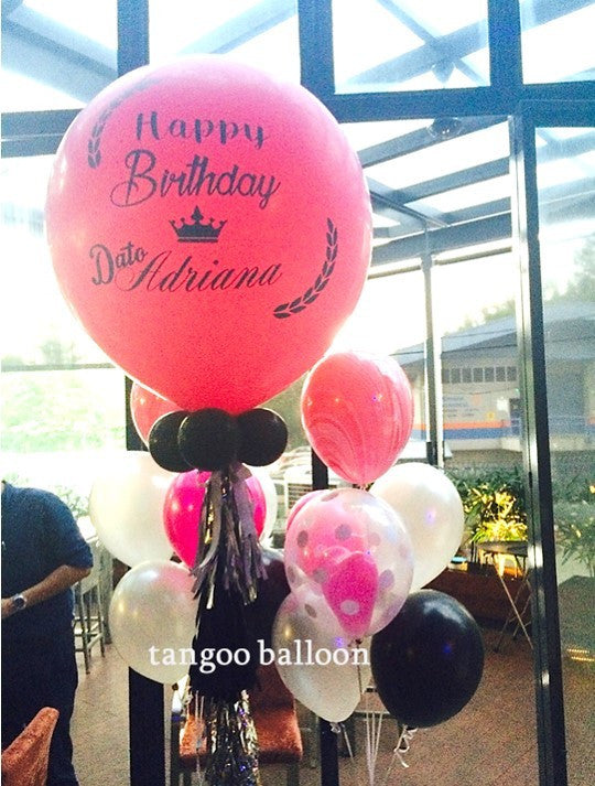 "Personalized 36"" Giant Balloon with Helium  Balloons Bouquet Set"