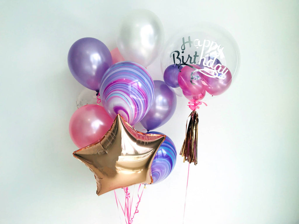"24"" Bubble Balloon in Pink, White & Purple."