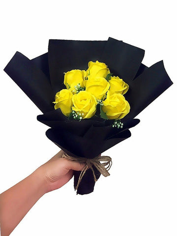 Yellow Soap Rose Flower Bouquet (Valentine's Special)