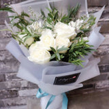 White Rose with Eucalyptus Leaf Bouquet