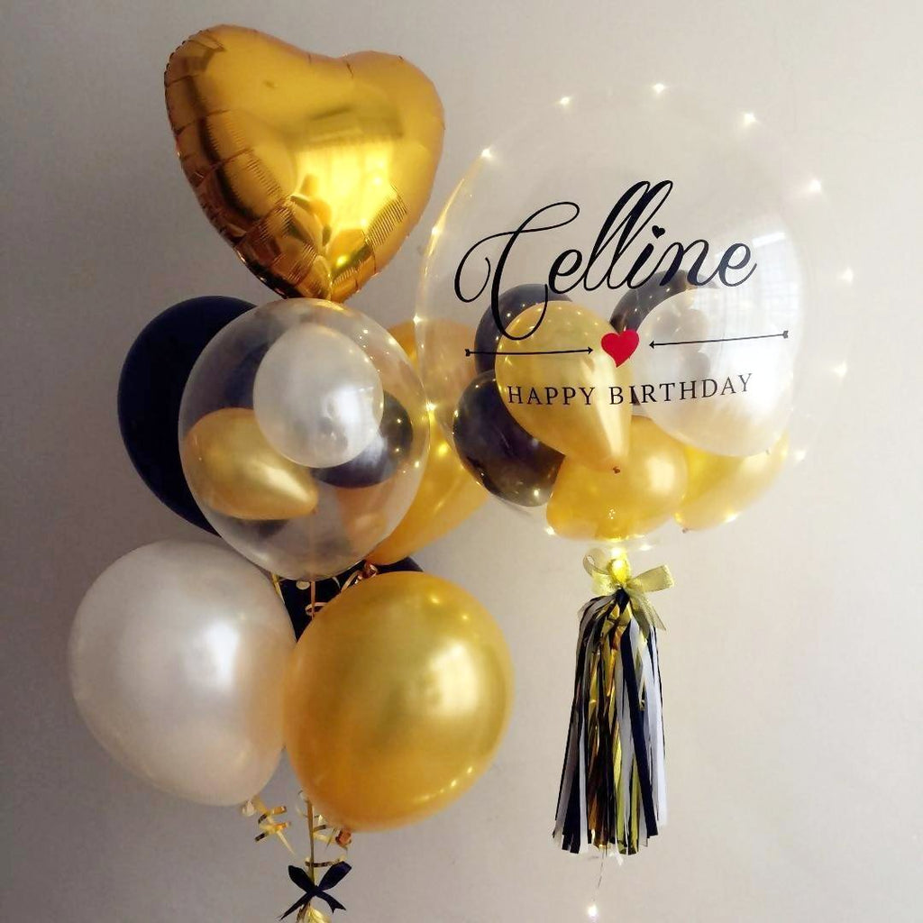 "Bubble Balloon (24"") with LED lights & Balloon Bunch Set"