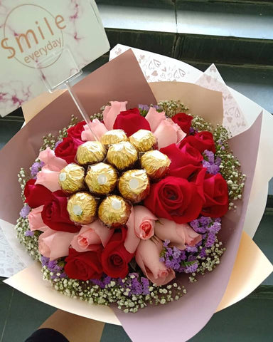 Pink Red Roses With Ferrero Rocher Bouquet
