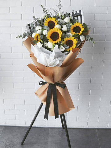 Sunflower and White Eustoma Opening Flower Stand