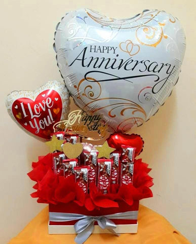 Lovely Anniversary Chocolate Box with Balloon
