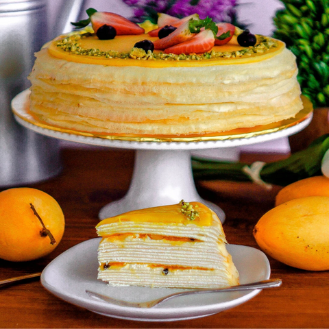 Mango and Passion Fruit Mille Crepe Cake