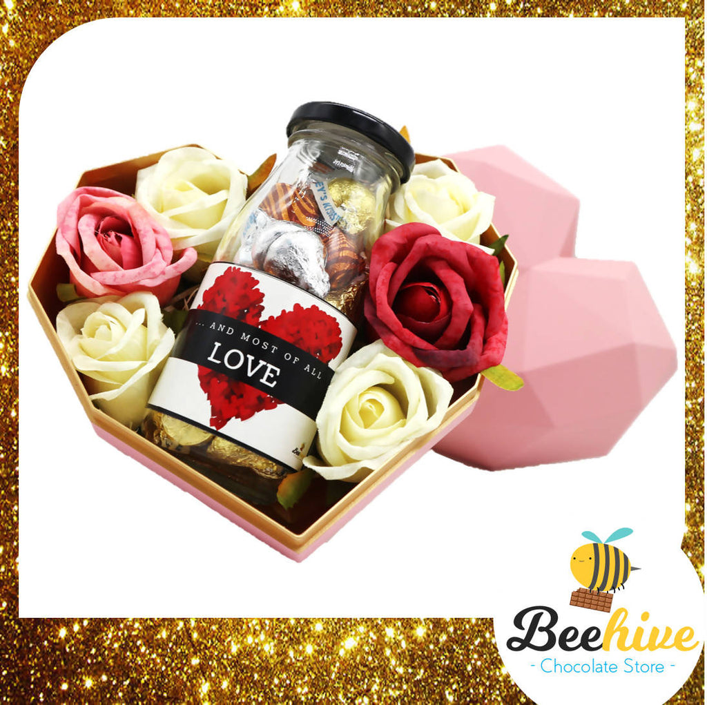 Beehive Chocolate Heart Shape Diamond Pink Gift Tin with Roses and Chocolate Gift Set