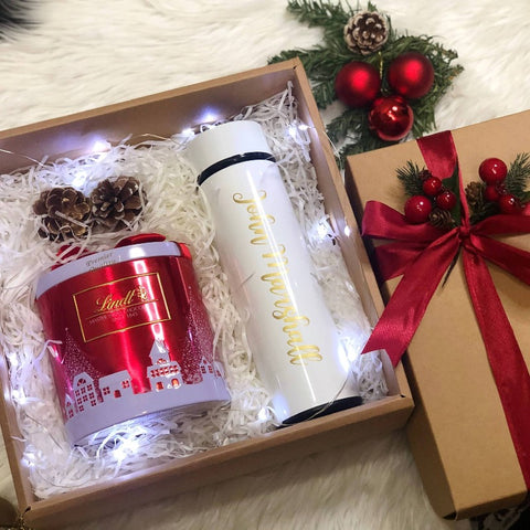 Personalised Smart Temperature Thermos Bottle and Christmas Edition Lindt's Chocolate with LED Light (Christmas 2020)