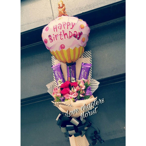 Cadbury Chocolate with Roses and Balloon Bouquet