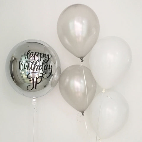 Basic Silver Orbz Balloon Bouquet