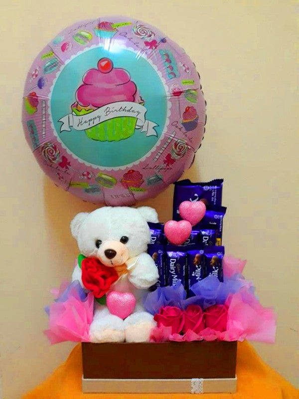 Birthday Chocolate Box with Bear & Balloon