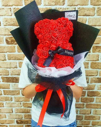 (Self Pick-up Only at Sg. Besi, KL on 14 Feb) Artificial Rose Bear 25cm Bouquet (Valentine's Day 2020)