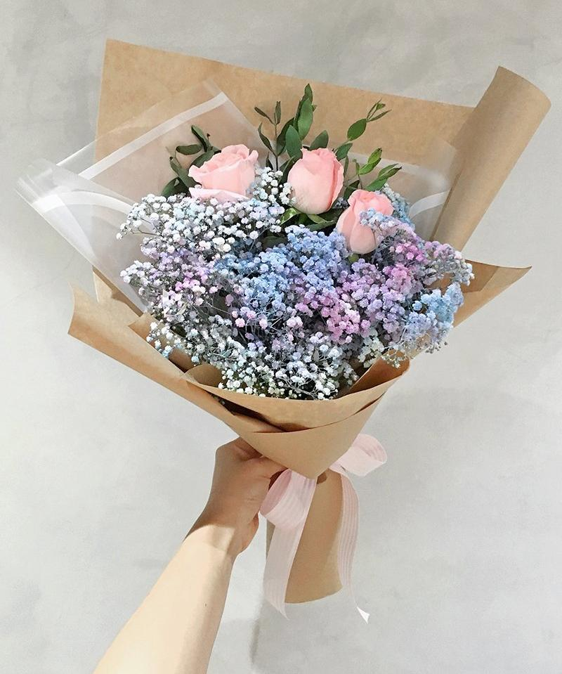 Pastel Baby Breath & Pink Roses (Melaka Delivery Only)