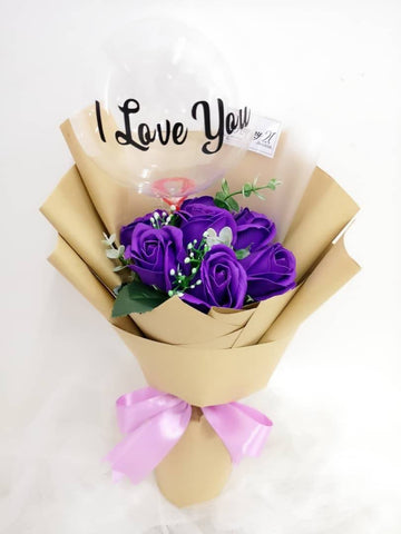 Purple Soap Roses With Transparent Balloon Bouquet