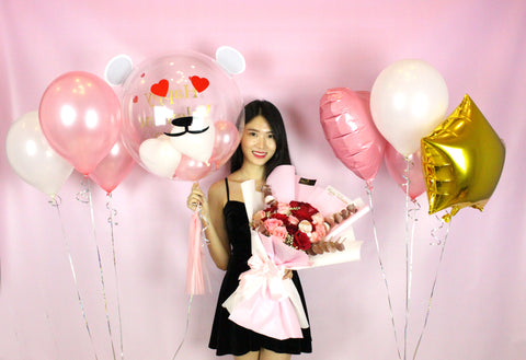 18 Red & Pink Roses with Balloon Package