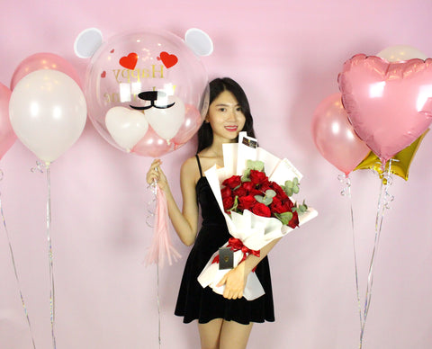 13 Red Roses with Balloon Package