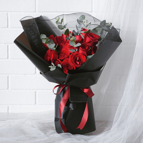Minimalist Red Roses - Black Net
