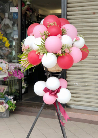 Grand Opening Carnations Flower Stand with Balloon