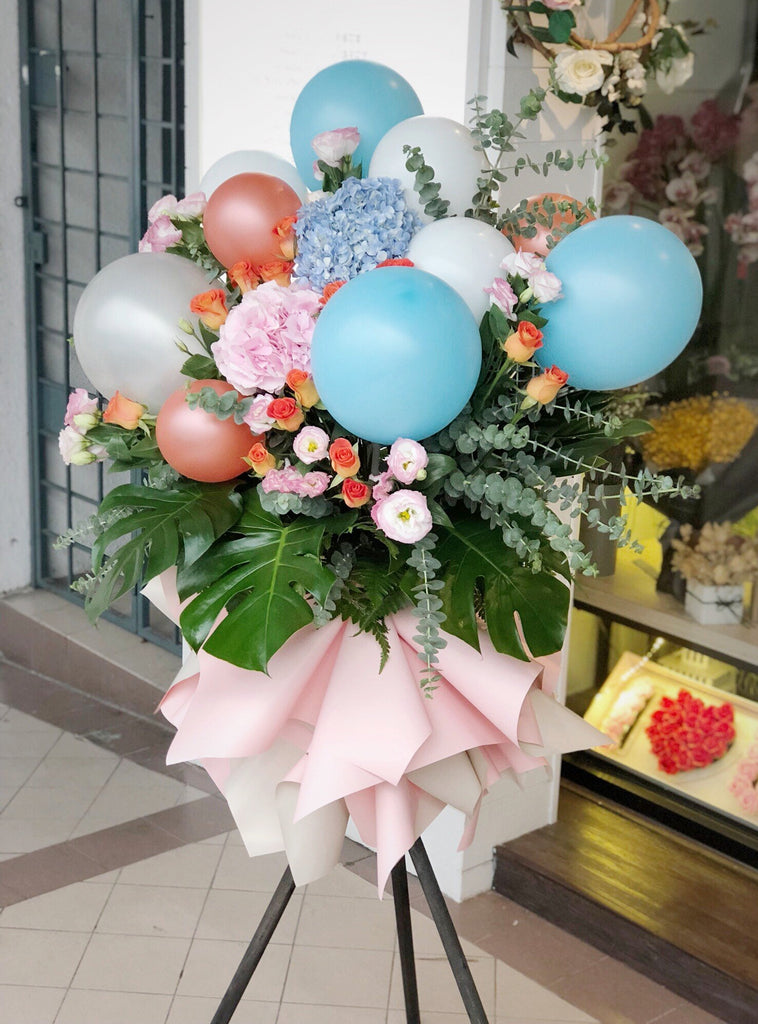 Mixed Roses & Eustoma Flower Stand with Balloon