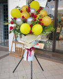 Red Roses Mixed Balloon Flower Stand
