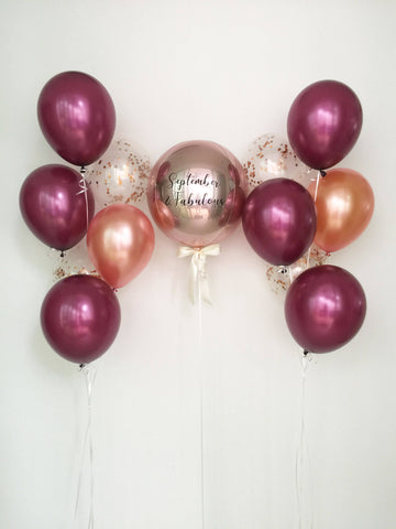 Ultimate Rose Gold & Burgundy Orbz Balloon Bouquet