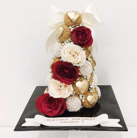 Red Roses & Gold Heart Croquembouche Tower