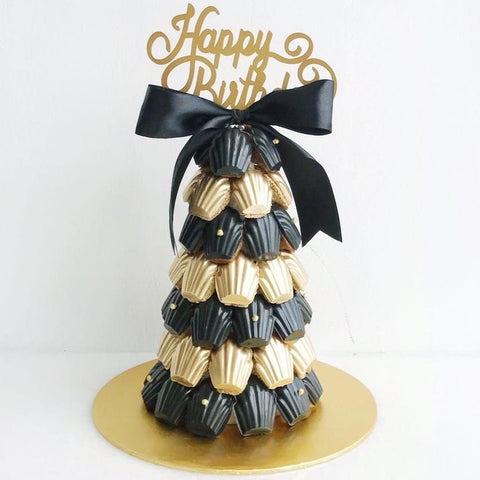 Black & Gold Madeleine Tower with Tiny Gold Pearl