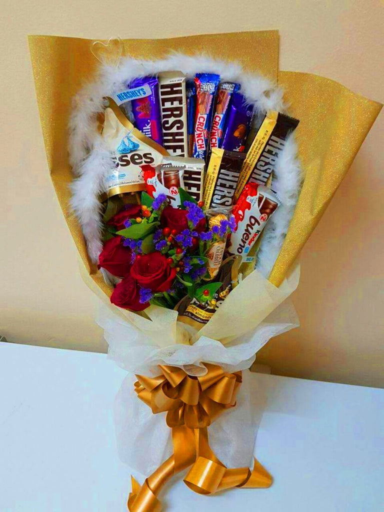 Chocolate Roses Bouquet (Yellow)