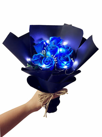 LED Blue Soap Rose Flower Bouquet