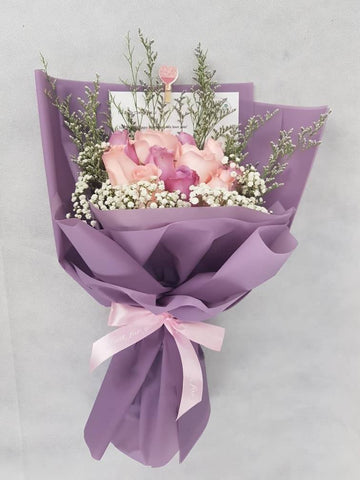Pink and Purple Roses Bouquet