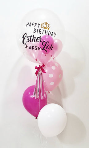 Personalised Bubble Balloon with Latex Helium Balloon Set