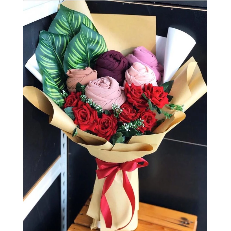 Shawl Bouquet with Artificial Flowers