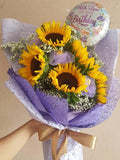 Sunflower bouquet in Purple