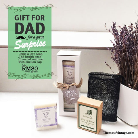 Motif Vintage Father's Day 2017 Gift Set - Twin Soapy Bar 100ML with Soap Net