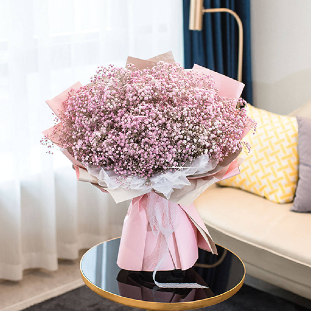 Giant Pink Baby Breath Bouquet Giftr Malaysia S Leading Online Gift Shop
