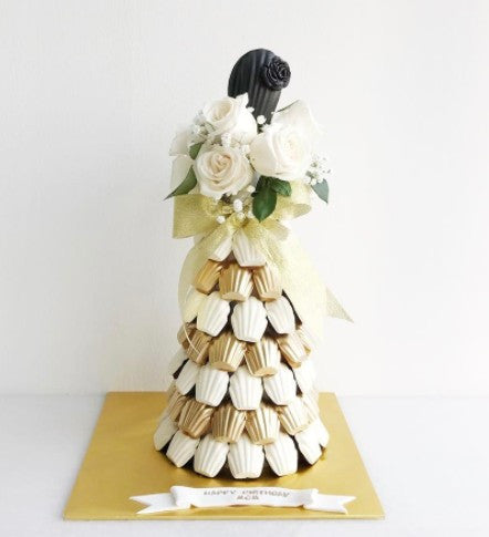 L'ange Signature Floral Madeleine Tower (White & Gold Theme, White Roses)