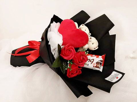 Soap Rose Teddy with Kinder Bueno Chocolate Bouquet