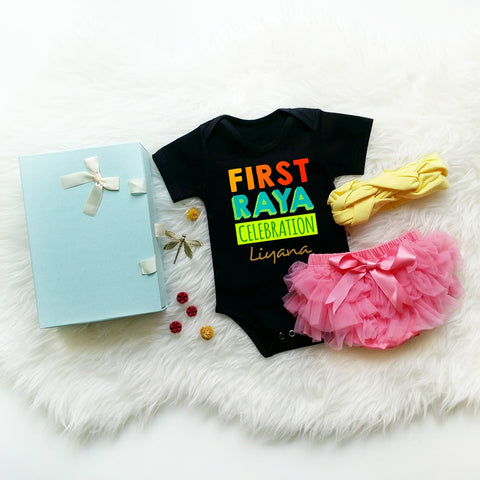 TeezBee FIRST Raya Celebration Colourful Baby Romper Gift Set