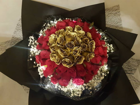 Gold and Red Roses Proposal Bouquet