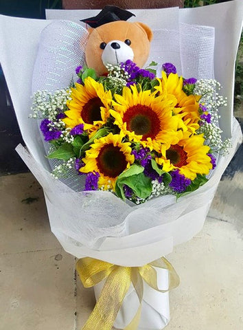 White Themed Sunflowers Graduation Bouquet