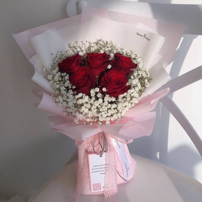 Red Rose Baby Breath Bouquet