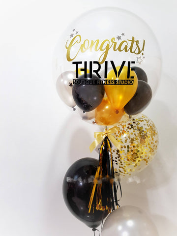 Personalised 'Congratulatory' Bubble Balloon with Latex Helium Balloon Set