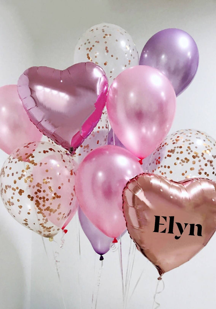 Pink & Purple Hearts Balloon Bouquet