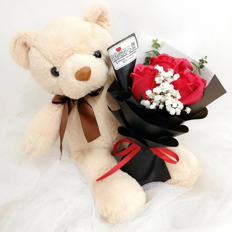 (Self Pick-up Only at Sg. Besi, KL on 14 Feb) Soap Rose Bouquet With Teddy Bear (Valentine's Day 2020)