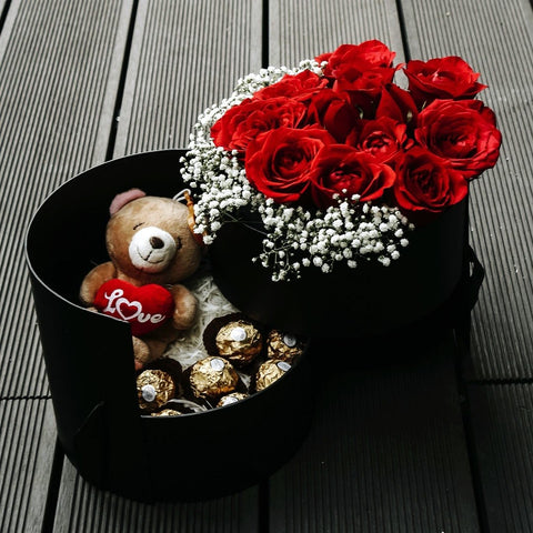 Passion (Red Roses with Baby Breath with Ferrero Rocher & Teddy Bear) - MOTHER'S DAY 2018