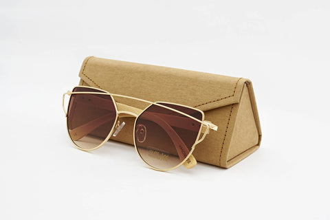Personalised Bamboo Sunglasses with name (Cat-eye)