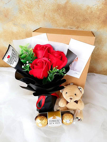 3 Stalks Soap Roses Teddy Bear With Ferrero Rocher 3pcs (Nationwide Delivery)