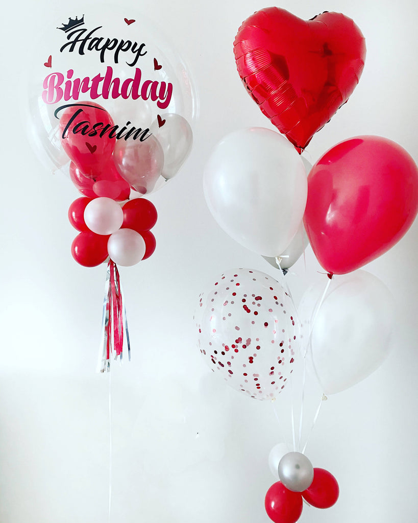 Customised 'Happy Birthday' Bubble Balloon Package (Red & White)