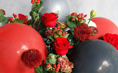 Red Rose Black Romance Balloon Flower Box