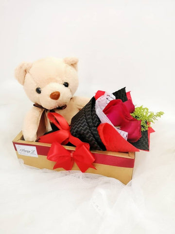 3 Stalk Rose With Teddy Bear 30cm In Box