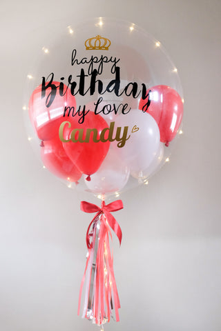 LED Personalised 'Happy Birthday' Bubble Balloon